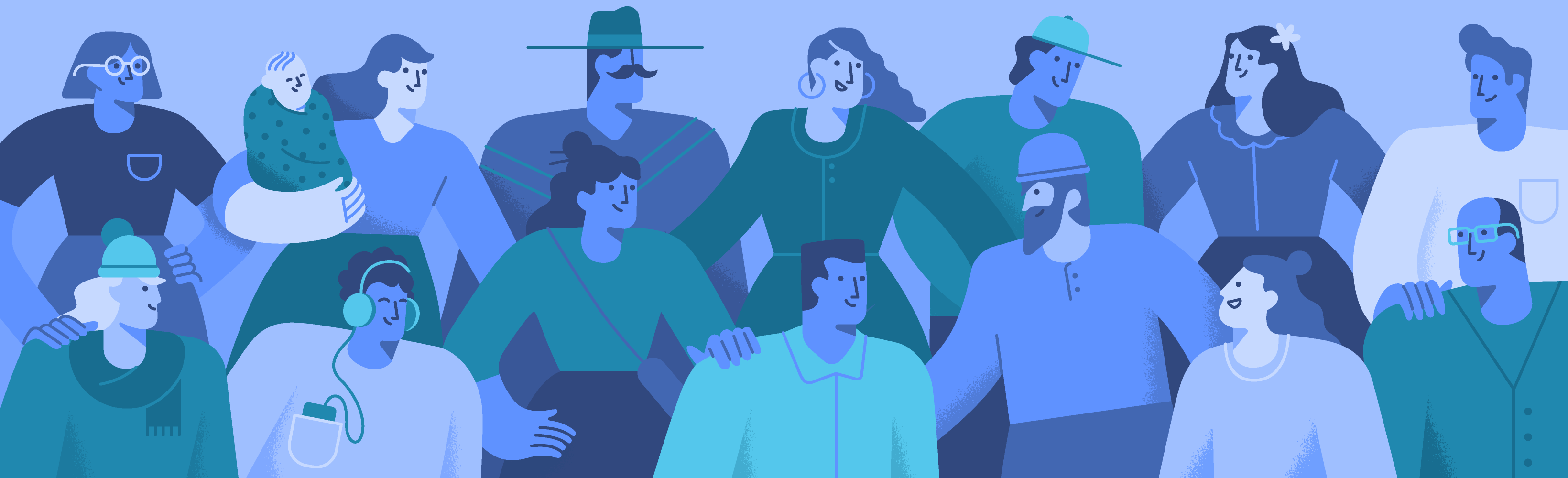 illustration of crowd of people supporting each other